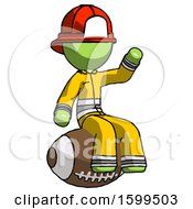 Green Firefighter Fireman Man Sitting On Giant Football