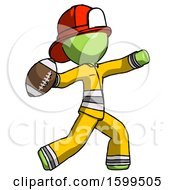 Green Firefighter Fireman Man Throwing Football