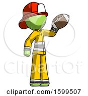 Poster, Art Print Of Green Firefighter Fireman Man Holding Football Up