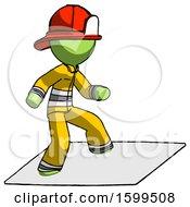 Poster, Art Print Of Green Firefighter Fireman Man On Postage Envelope Surfing