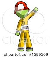Green Firefighter Fireman Man Waving Emphatically With Left Arm