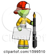 Poster, Art Print Of Green Firefighter Fireman Man Holding Large Envelope And Calligraphy Pen