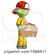 Green Firefighter Fireman Man Holding Package To Send Or Recieve In Mail