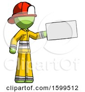 Green Firefighter Fireman Man Holding Large Envelope