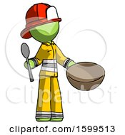 Poster, Art Print Of Green Firefighter Fireman Man With Empty Bowl And Spoon Ready To Make Something