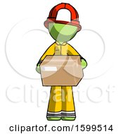 Green Firefighter Fireman Man Holding Box Sent Or Arriving In Mail