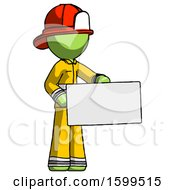 Poster, Art Print Of Green Firefighter Fireman Man Presenting Large Envelope