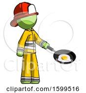 Poster, Art Print Of Green Firefighter Fireman Man Frying Egg In Pan Or Wok Facing Right