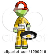 Green Firefighter Fireman Man Frying Egg In Pan Or Wok