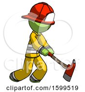 Green Firefighter Fireman Man Striking With A Red Firefighters Ax
