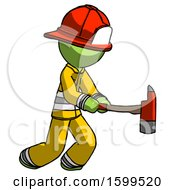 Poster, Art Print Of Green Firefighter Fireman Man With Ax Hitting Striking Or Chopping