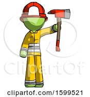 Green Firefighter Fireman Man Holding Up Red Firefighters Ax