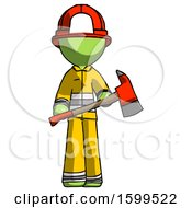Poster, Art Print Of Green Firefighter Fireman Man Holding Red Fire Fighters Ax