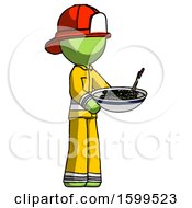 Green Firefighter Fireman Man Holding Noodles Offering To Viewer