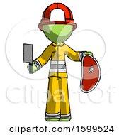 Poster, Art Print Of Green Firefighter Fireman Man Holding Large Steak With Butcher Knife