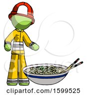 Green Firefighter Fireman Man And Noodle Bowl Giant Soup Restaraunt Concept