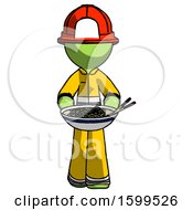 Green Firefighter Fireman Man Serving Or Presenting Noodles