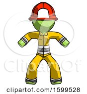 Green Firefighter Fireman Male Sumo Wrestling Power Pose