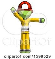 Poster, Art Print Of Green Firefighter Fireman Man Directing Traffic Right
