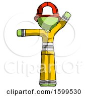Poster, Art Print Of Green Firefighter Fireman Man Directing Traffic Left