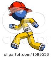 Blue Firefighter Fireman Man Running Fast Left