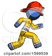 Blue Firefighter Fireman Man Running Fast Right