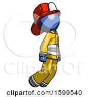 Blue Firefighter Fireman Man Floating Through Air Right
