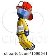 Blue Firefighter Fireman Man Floating Through Air Left
