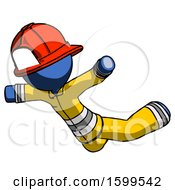 Blue Firefighter Fireman Man Skydiving Or Falling To Death