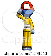 Blue Firefighter Fireman Man Soldier Salute Pose