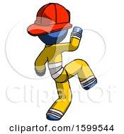 Blue Firefighter Fireman Man Kick Pose Start