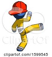 Blue Firefighter Fireman Man Kick Pose