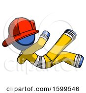 Blue Firefighter Fireman Man Falling Backwards