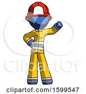Blue Firefighter Fireman Man Waving Left Arm With Hand On Hip