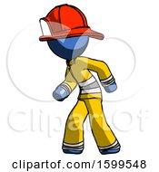 Blue Firefighter Fireman Man Suspense Action Pose Facing Left