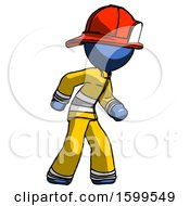 Blue Firefighter Fireman Man Suspense Action Pose Facing Right