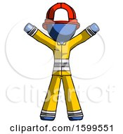 Blue Firefighter Fireman Man Surprise Pose Arms And Legs Out