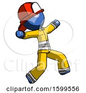 Blue Firefighter Fireman Man Running Away In Hysterical Panic Direction Right