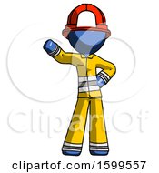 Blue Firefighter Fireman Man Waving Right Arm With Hand On Hip