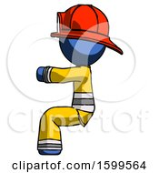 Blue Firefighter Fireman Man Sitting Or Driving Position