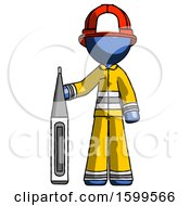 Blue Firefighter Fireman Man Standing With Large Thermometer