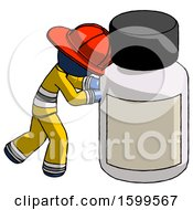 Blue Firefighter Fireman Man Pushing Large Medicine Bottle