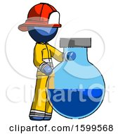 Blue Firefighter Fireman Man Standing Beside Large Round Flask Or Beaker