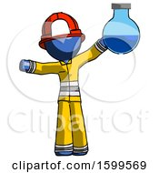 Blue Firefighter Fireman Man Holding Large Round Flask Or Beaker