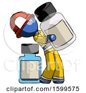 Blue Firefighter Fireman Man Holding Large White Medicine Bottle With Bottle In Background