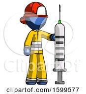 Blue Firefighter Fireman Man Holding Large Syringe