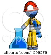Blue Firefighter Fireman Man Holding Test Tube Beside Beaker Or Flask