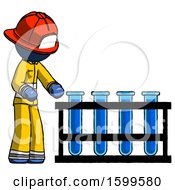 Blue Firefighter Fireman Man Using Test Tubes Or Vials On Rack