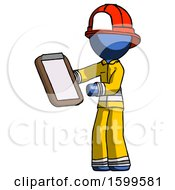 Blue Firefighter Fireman Man Reviewing Stuff On Clipboard