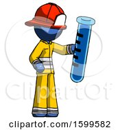 Blue Firefighter Fireman Man Holding Large Test Tube